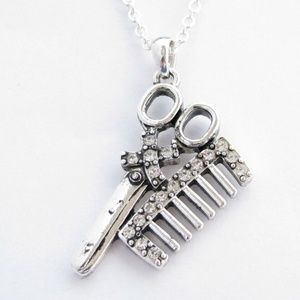 Hair Stylist Barber Comb/Scissors Chain Necklace